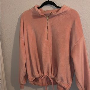 Fuzzy coral sweater cropped